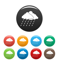cloud rain storm icons set color vector image