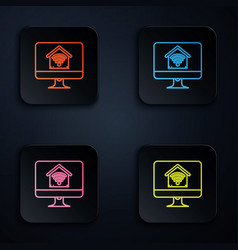 Color neon line computer monitor with smart home vector