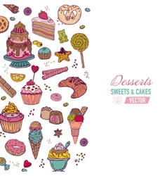 Colorful Background with Cakes Sweets and Desserts vector