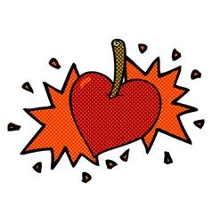 Comic cartoon love heart cherry vector