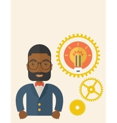 Company officer with gear and bulb vector