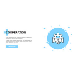 cooperation icon banner outline template concept vector image