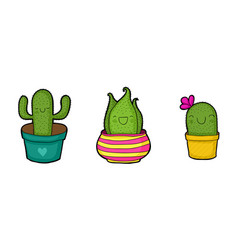 Cute cartoon cactuses vector