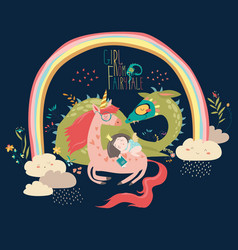 Cute cartoon dragon unicorn and little princess vector