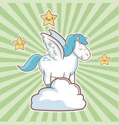 cute unicorn over cloud fantasy stars striped vector image