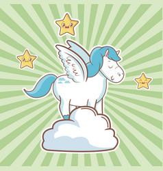 Cute unicorn over cloud fantasy stars striped vector