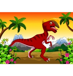 Dinosaur Parasaurolophus cartoon for your design vector image