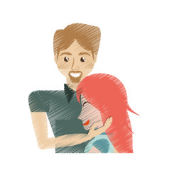 drawing man caress girl lovely vector image