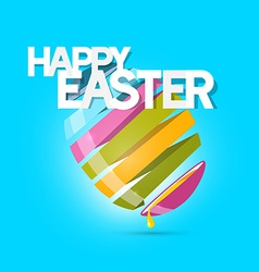 Easter Colorful Egg on Blue Background vector image