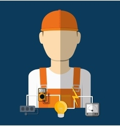 Electric technician man vector