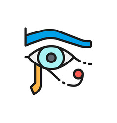 Eye horus ancient egyptian moon flat color vector