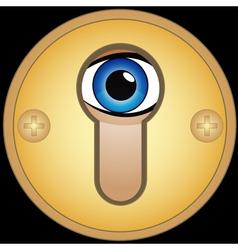 Eye in golden keyhole vector