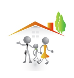 Family in a new house vector