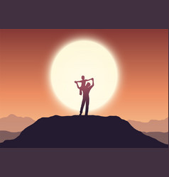 Fathers day background with dad and son in sunset vector