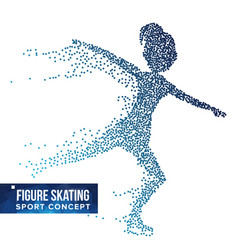 Figure skating player silhouette halftone vector