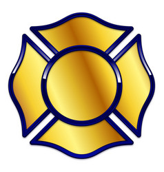 Fire rescue logo base gold with dark blue trim vector