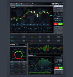 Forex market app interface with business vector
