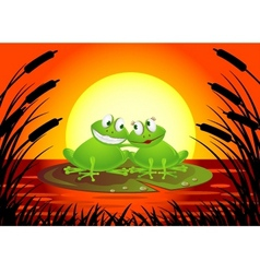 frog couple with sunset vector image