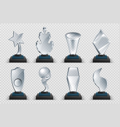 Glass awards realistic transparent winner trophy vector