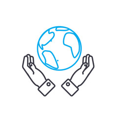 global opportunities thin line stroke icon vector image