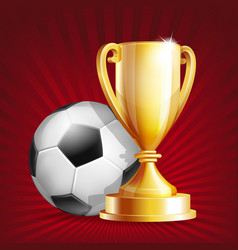 golden trophy cup with soccer ball vector image