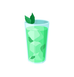 green cocktail with ice and mint cartoon vector image