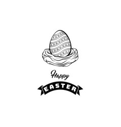 happy easter card spring nest with eggs vector image