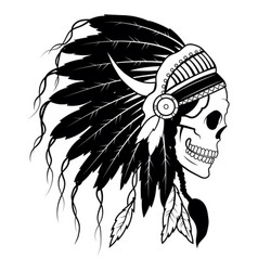 indian skull with headdress feathers vector image
