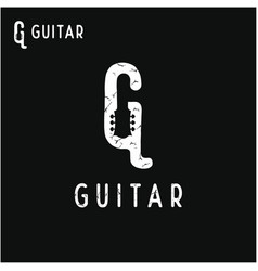initial letter g with guitar headstock vector image