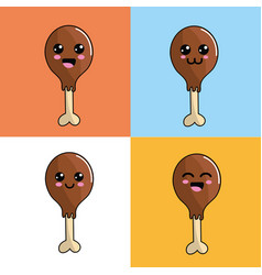Kawaii chicken thigh icon adorable expression vector