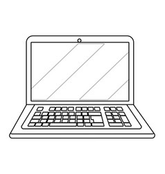 laptop icon cartoon in black and white vector image