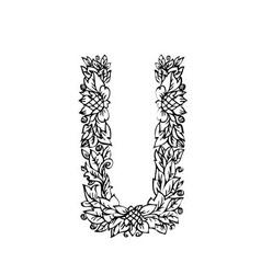 Letters floral u vector