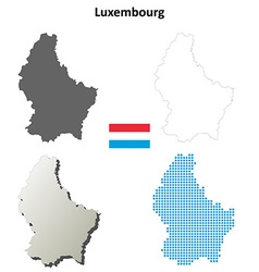 Luxembourg outline map set vector