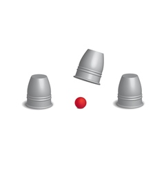 Magic cups game with red ball set in open action vector image