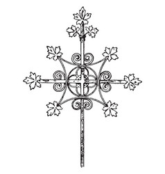 medieval steeple cross vintage vector image
