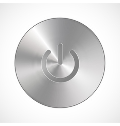 Metallic Power Button isolated on a white vector image