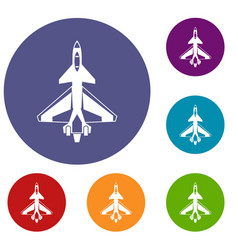 military fighter jet icons set vector image