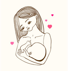 Mother breast feeding and cute baby vector