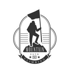 mountain climbing logo mountain tourism vector image