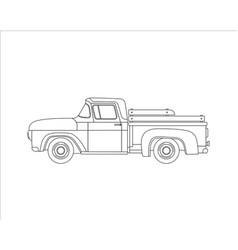 Outline old farmer retro pickup truck vector