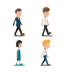 people cartoon walk collection set vector image