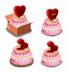 pink cake with red biscuits in shape heart vector image