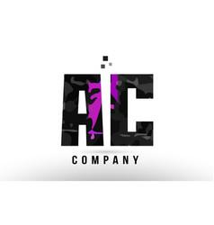 Purple black alphabet letter ac a c logo vector