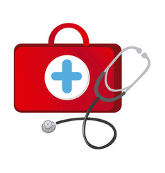 red suitcase health with stethoscope icon vector image