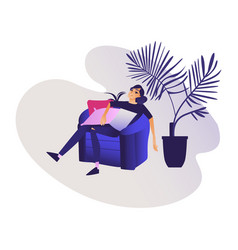 relaxed young smiling woman enjoying rest sitting vector image