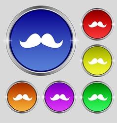 Retro moustache icon sign Round symbol on bright vector