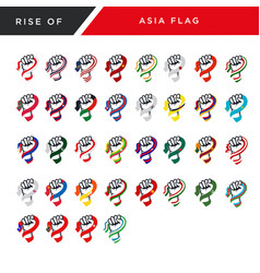 Rising fist hand asia flag vector
