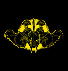 Roman or greek helmet spartan warriors vector