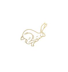 running rabbit silhouette minimal linear vector image