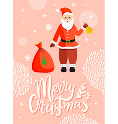 santa claus greeting merry christmas card vector image